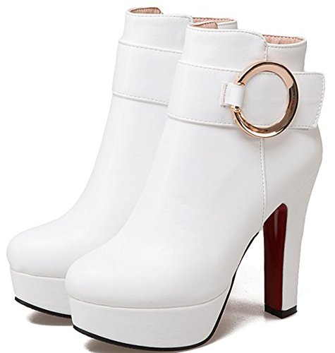 Heeled Toe Pointed Women's Booties Block Easemax High Sexy White Up Ankle With High Zip Platform q8WpXpP