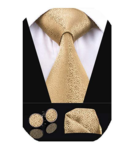 Dubulle Solid Mens Gold Necktie with Cufflinks Tie and Pocket Square (Square Cufflinks Gold)