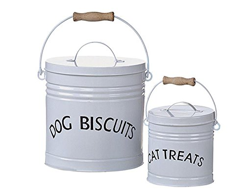 White Tin Containers W/ Lids Dog Biscuits Cat Treats SET OF 2 Country Home D