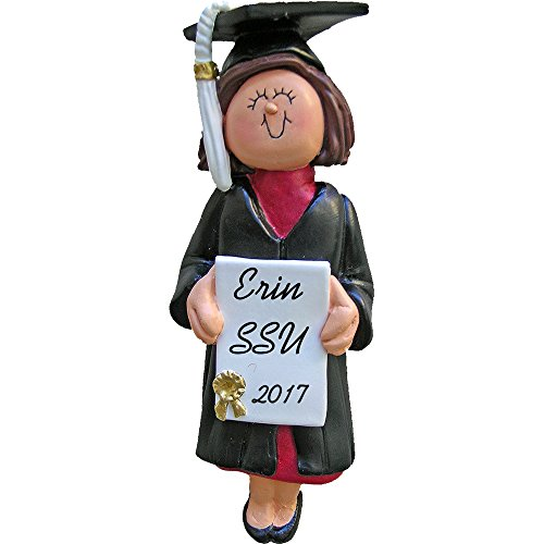 (Calliope Designs Graduate Female Personalized Christmas Ornament (Brunette Hair) - Handpainted Resin - 4.5