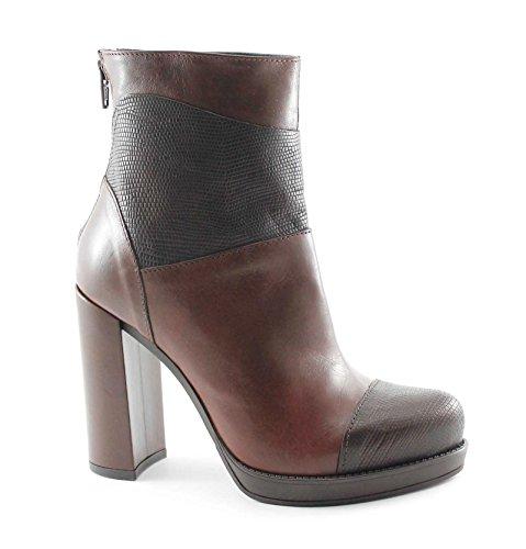 Marrone Chocolate plateaux heel DIVINE 42184 boots zip woman FOLLIE ankle qzZZwx6f4