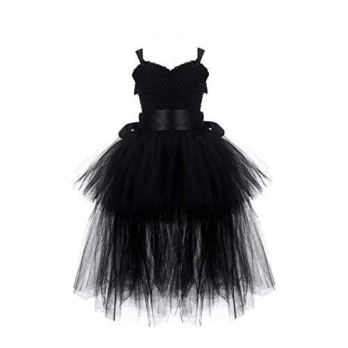 Girls Dress V-Neck Train Girl Evening Birthday Party Dresses Kids Girl Ball Gown Dress Halloween Costume Black