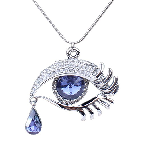 Xiangfeigao Women's Alloy Rhinestone Eye-shaped Teardrop Pendant Necklace Grey