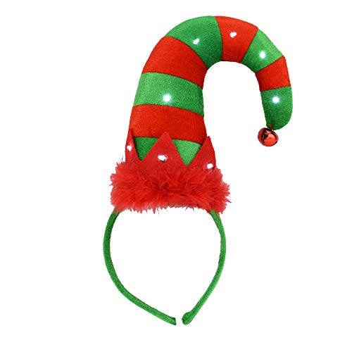 EDS Costumes Christmas Flashing Red Light Up Elf Hat Headband Ugly Sweater Party Supplies -
