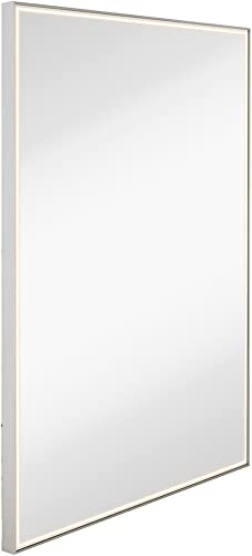 Brushed Metal Mirror with Lights Lighted Backlit LED Wall Mirror Contemporary Glass Illuminated Thin Frame Hanging Vertical or Horizontal Rectangle 30 x 40