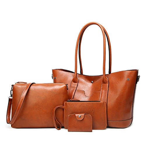 (ELIMPAUL Designer Women Top Handle Leather Satchel Handbags Shoulder Bag 4pcs Messenger Tote Bag Purse)