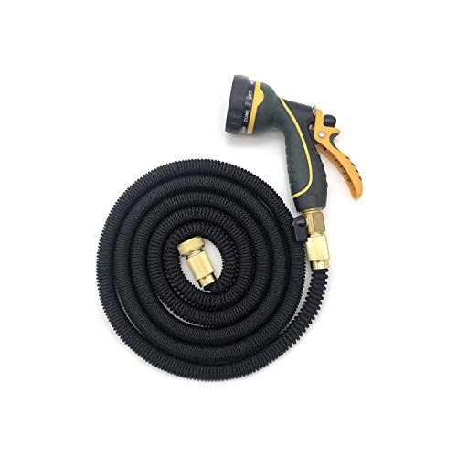 Old street 25ft-100ft Flexible Garden Hoses Expandable Water Hose Pipe Watering Spray Gun Set Car Watering Hose with Spray Gun Watering Kit,75ft,Black