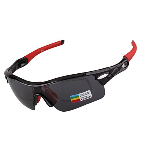 XQHD 4 Interchangeable Lenses Polarized Sports Sunglasses for Men Women Biking Driving Golf Durable Frame (Black | - Sunglasses Just Another Day Kid