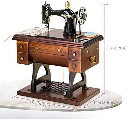 JIAXIAO Ship Máquina de Coser de Madera, Caja de música de Estilo Retro, sin batería para Reproducir música, Modelo de simulación mecánica en el Reloj, Mini, 6.7 * 3.9 * 7.9in: Amazon.es: Hogar