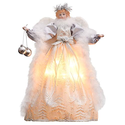 Valery Madelyn 16 Inch 10-Light Frozen Winter Silver White Ivory Christmas Tree Topper Angel Treetop Decorations, Battery Operated (Not ()