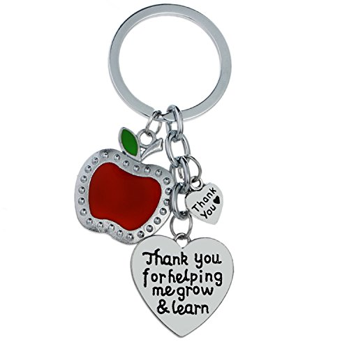 Teacher Appreciation Gifts for Women Thank You for Helping me Grow and Learn Keychain Heart Charms Key Chains -
