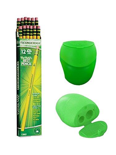 Dixon Ticonderoga Wood-Cased Pencils, #2 HB, Yellow, Box of 12, Including FREE BONUS Double Hole Pencils Sharpener (Colors may vary)
