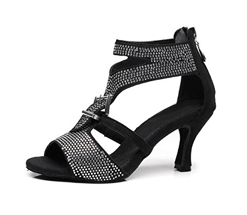 Black Strap Latin Ankle 5cm Satin Sandals Shoes Girls TJ7142 7 Minishion Heel Dance Evening Zip Women's AqISnp7