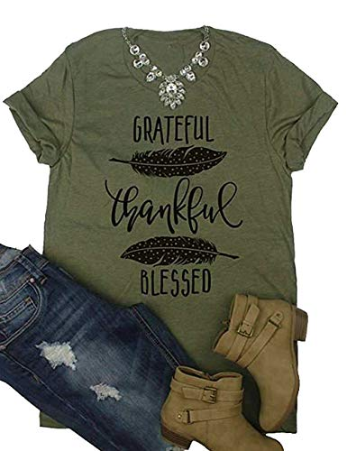 (DUTUT Grateful Thankful Blessed Feather Printed T-Shirt Women's Casual Short Sleeve Top Blouse Size L)