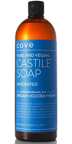 Organic Castile Liquid Soap (Cove Unscented Castile Soap 33.8 oz - Only Certified Organic, Vegan Ingredients with Argan, Jojoba, and Hemp Oils - Concentrated Liquid Soap - Made in the)
