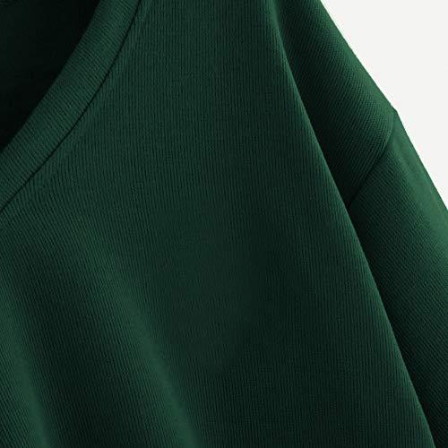 Pullover Top Lanterna Donna Manica Kobay Moda Drop Spalla Solid Casual Felpa Verde CzzwFv