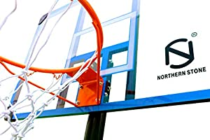 Northern Stone Pro Court Free Standing Height Adjustable Portable Basketball Hoop System with 44 Inch Deluxe Transparent Polycarbonate Impact Backboard Official Height