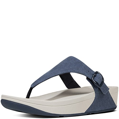 FitFlop Women's The Skinny Canvas Toe Thong Flip Flop, Midnight Navy, 8 M US (Canvas Thongs)
