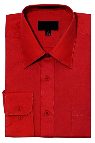 G-Style USA Men's Regular Fit Long Sleeve Solid Color Dress Shirts - RED - Large - 34-35