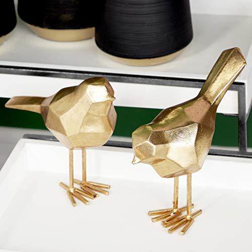 "Deco 79 77166 Large Modern Style Metallic Gold Bird Figurines Table Decor | Set of 2: 3"" x 7"", 3"" x 8"""