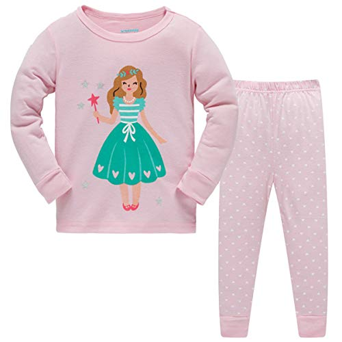 Schmoopy Girls Pajamas Long Sleeve Set with Princess for Toddler and Little Kid Girls 3T