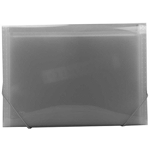 JAM Paper Accordion Folder - 13 Pocket Expanding File - Legal Size - 10 x 15 - Smoke Grey - (10 Tabbed File Folders)