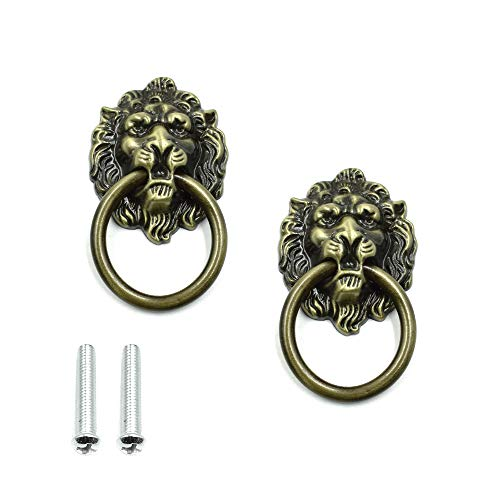 Cyful Lion Head Dresser Drawer Cabinet Door Ring Lion Head Pull Handle Knob Bronze Tone - (2 Pcs) ()