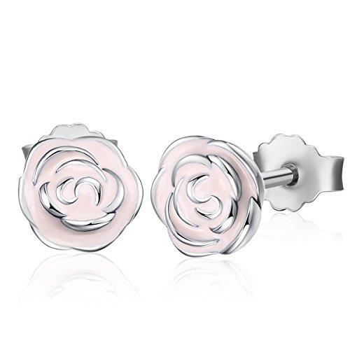 Enamel Garden - Twenty Plus Rose Garden Stud Earrings With Pink Enamel Gifts For Girls & Women