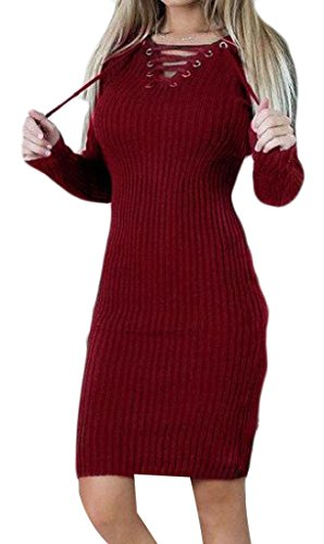 Pull Col Cranté À Manches Longues Confortables Femmes Robe Solide De Vin Rouge