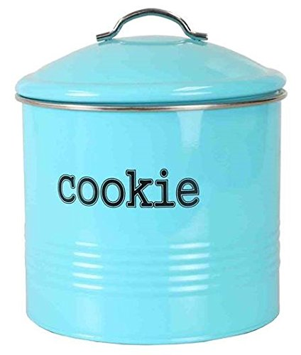 Home Basics Tin Kitchen Food Storage Organization Canister Collection (Cookie Jar with Cover, - Cookie Tin Jar