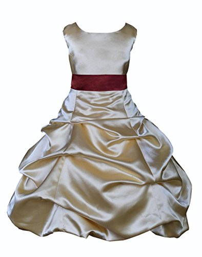 ekidsbridal Pick-up Satin Gold Flower Girl Dresses Special Occasion Dresses Formal Dresses Holiday Dresses 806s 6
