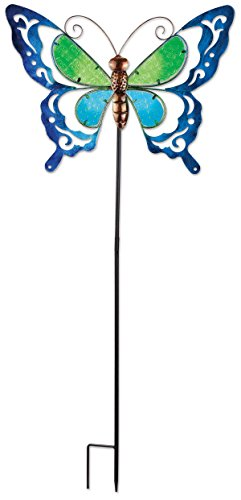 Sunset Vista Designs 92609 Spring Butterfly Garden Stake, Metal and Blue Glass