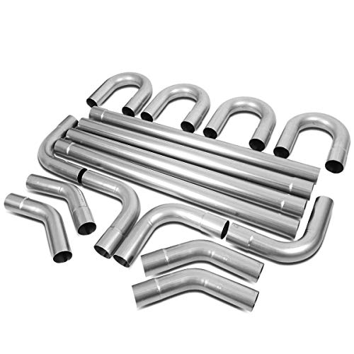 3 Inches OD DIY Custom Exhaust Pipe Kit 16-Piecese Straight & 45/90 Degree & U-Bends (3in Exhaust Pipe)