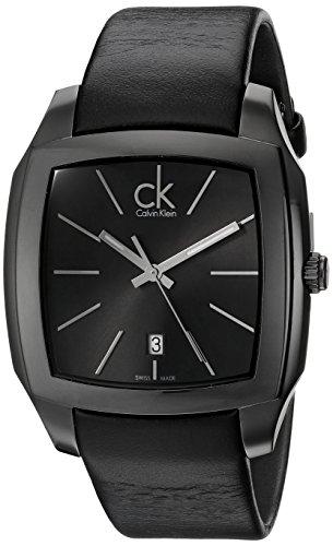 Calvin Klein Men's K2K21402 Recess Black Stainless Steel Watch with Black Leather Band (Calvin Watch Dress Klein)