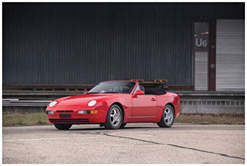 (Porsche 968 Cabriolet (1992-1995) Car Art Poster Print on 10 Mil Archival Satin Paper Red Front Side Static View (24