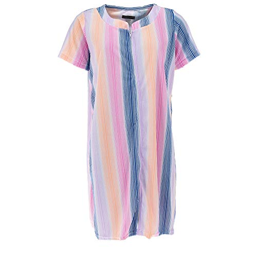 Elegant Emily Women's Zip Front Terry Short Sleeve Duster Robe, Small, Rainbow Stripe