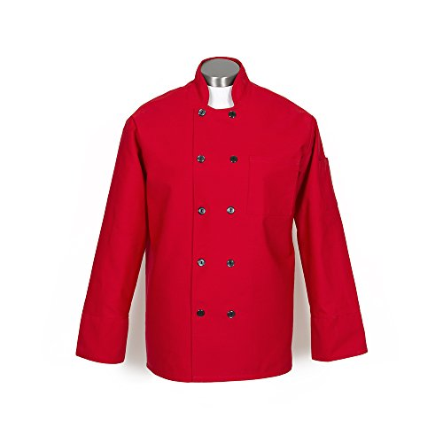 Button Red Coat 10 - Fame Adult's 10 Button Chef Coat -Red-4XL