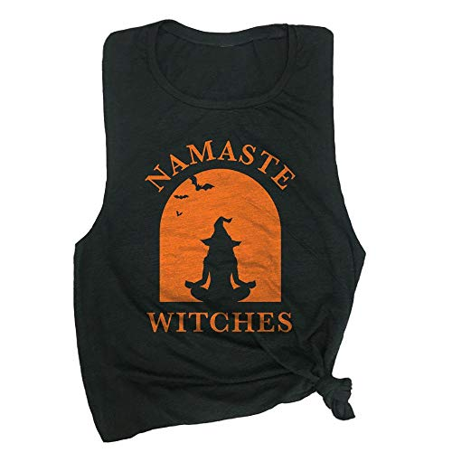 Spunky Pineapple Namaste Witches Halloween Yoga Muscle Tee