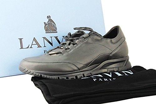 Lanvin 100% Lederen Grijze Sneakers Schoenen # 32 Nieuwe Originele Doos