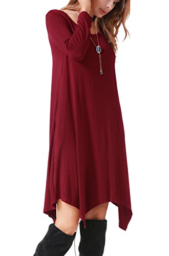 Invug Women Casual Loose Soft Crewneck Long Sleeve Pockets Swing T-shirt Dress Dark Red XXL by Invug (Image #4)