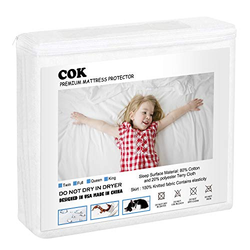 Cok Premium Waterproof Mattress Protector- Soft Cotton Terry Surface Fabric, Breathable and Noiseless Bed Mattress Cover, Safe Sleep for Adults and Kids (White, Queen)