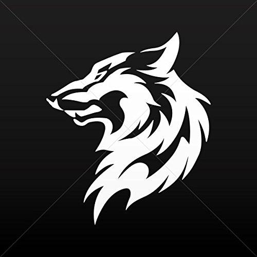 Decal Sticker Wolf Head Decoration Waterproof Racing Vehicle White (14 X 11.9 - Power Icon Tattoo Supply