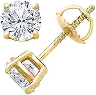 9c9fe3d8a Christmas Sale IGI Certified White Natural Diamond Solitaire Stud Earrings  In 14K Solid Gold (0.25