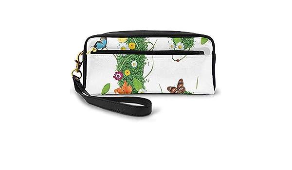 Diseño de Alfabeto Inspirado en Primavera y Verano Letra mayúscula C Escritura de símbolo Bolsa de Maquillaje pequeña con Cremallera Estuche de lápices 20cm * 5.5cm * 8.5cm: Amazon.es: Equipaje
