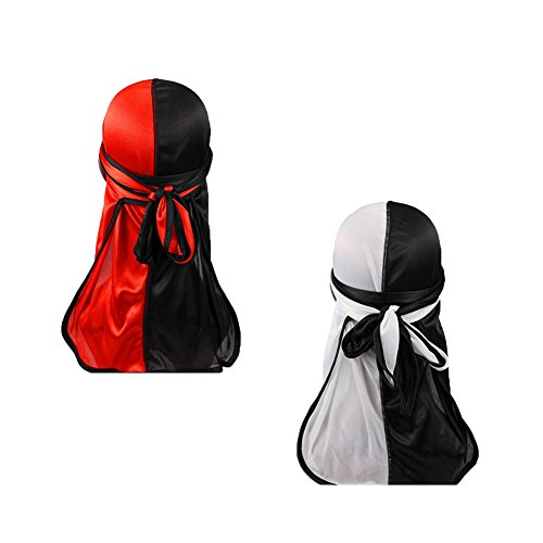 Hip-hop Two Tone Men Silky Durag Cap(2pcs) Long Tail Chemo 360 Waves Du-rag Hat (Red&White&Black) by DIY