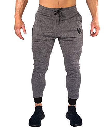 YoungLA Joggers Men Slim Fit Sweatpant Gym Workout Zipper Pocket 202 Charcoal Medium