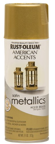 Rust-Oleum 202719 American Accents Topcoat Designer Metallic Spray Paint, 12 Oz Aerosol Can, Aged, 11 oz, Brass