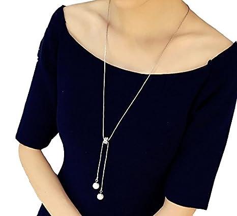 Hosaire Moda mujer zircon de cristal de perla largo cadena encantos suéter collar accesorios de la