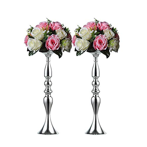 (Pcs of 2 Tall Metal Vase for Wedding Centerpieces Decoration-Artificial Flower Arrangement-Pillar Candle Holder Stand Set for Wedding Party Dinner Event Centerpiece Home Decor (SILVER, 19.7