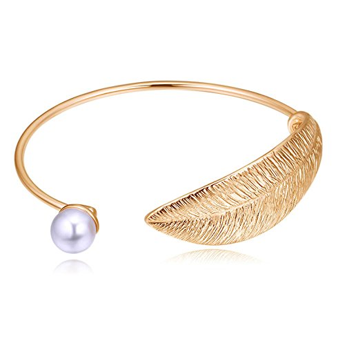 Bowinr Women Fashion Style Retro Alloy Gold Plated Leaf Bracelet Faux Pearl and Leaf Rhodium Plated Open Bangles Bracelet (Champagne Gold) ()